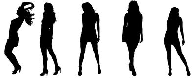 Vector silhouettes of sexy women. Stock Image