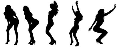 Vector silhouettes of sexy women. Royalty Free Stock Photos