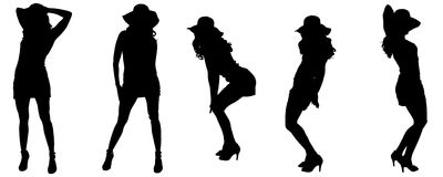 Vector silhouettes of sexy women. Vector silhouettes of sexy women with long hair Stock Illustration