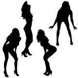 Vector silhouettes of sexy women. Royalty Free Stock Images