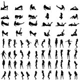 Vector silhouettes of sexy women. Royalty Free Stock Image