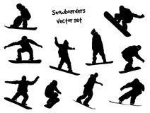 Vector silhouettes snowboarders Royalty Free Stock Image
