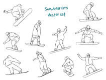 Vector silhouettes snowboarders Stock Photography