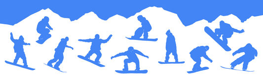 Vector silhouettes snowboarders Stock Photos