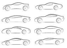 Vector silhouettes of sports cars Royalty Free Stock Photography