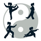 Vector silhouettes of Tai Chi Stock Image