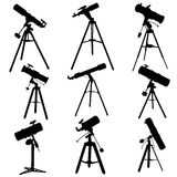 Vector silhouettes of telescopes. Stock Photos