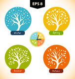 Vector  silhouettes of trees in seasons. Royalty Free Stock Photos