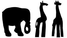 Vector silhouettes of various animals. Royalty Free Stock Photos