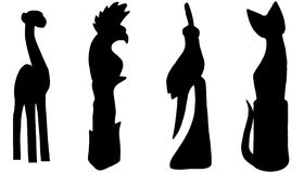 Vector silhouettes of various animals. Royalty Free Stock Images