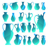 Vector silhouettes of vases. Isolated crockery. Digital icon for Royalty Free Stock Photography