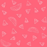 Vector silhouettes of watermelon pattern on a red background Royalty Free Stock Image