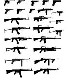 Vector silhouettes of weapons. Isolated on white Stock Images