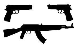 Vector silhouettes of weapons. Stock Photo