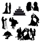 Vector silhouettes of wedding icons. Royalty Free Stock Images