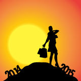 Vector silhouettes of woman. Vector silhouettes of woman at the turn of the year Royalty Free Stock Photography