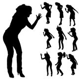 Vector silhouettes of woman. Stock Photo