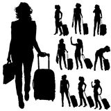Vector silhouettes of woman. Royalty Free Stock Photos
