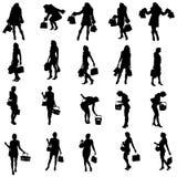 Vector silhouettes of woman. Stock Photos