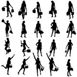 Vector silhouettes of woman. Stock Image