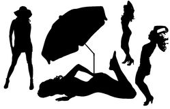 Vector silhouettes women on beach Stock Photography