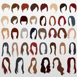 Vector silhouettes of women`s haircuts Stock Photography