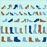Vector silhouettes of women shoes Stock Image
