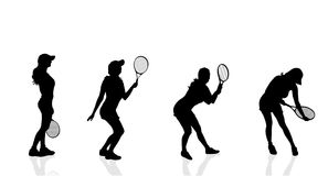 Vector silhouettes of women. Vector silhouette of a woman who plays tennis on a white background Vector Illustration