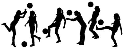 Vector silhouettes of women in sport. Vector silhouettes of women in sport on a white background Stock Photography