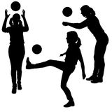 Vector silhouettes of women in sport. Royalty Free Stock Photos