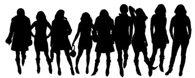 Vector silhouettes of women. Royalty Free Stock Image