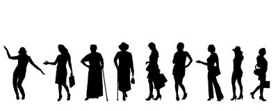 Vector silhouettes of women. Stock Photography