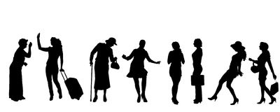 Vector silhouettes of women. Stock Photo