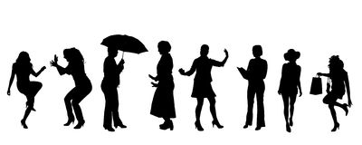 Vector silhouettes of women. Royalty Free Stock Images