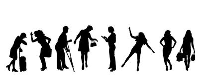Vector silhouettes of women. Stock Images
