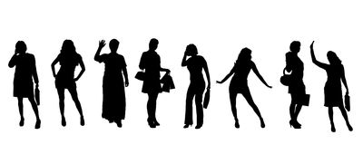 Vector silhouettes of women. Stock Image