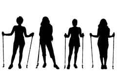 Vector silhouettes of women. Royalty Free Stock Photos