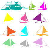 Vector silhouettes of yachts. A set of  silhouettes of yachts Royalty Free Stock Image