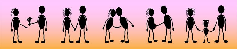 Vector, silhouettes of a young couple in love, a story of love and the creation of a family_ stock illustration
