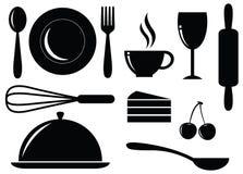 Vector a silhueta do alimento, da bebida, da padaria e do café Foto de Stock Royalty Free