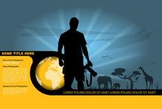 Vector a silhueta do fotógrafo e dos animais selvagens no backgr Imagens de Stock Royalty Free