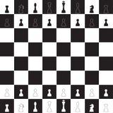 Vector silhuetas de um grupo de ícones padrão das partes de xadrez Fotos de Stock