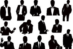 Vector sillhouettes collection of businessmen Stock Image
