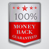 Vector  silver badge label with money back. Vector silver and red  badge with  with money back guaranteed text Royalty Free Stock Photography