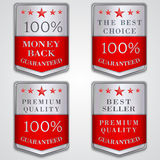 Vector silver badge label set with premium quality Royalty Free Stock Photos