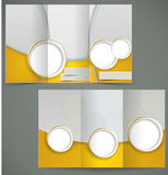 Vector silver brochure layout design with yellow e. Lements, business three fold flyer template. Illustration Stock Image