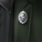 Vector silver brooch Royalty Free Stock Photography