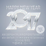 Vector silver chic Happy New Year 2017 greeting card. With set of letters, symbols and numbers. File contains graphic styles Stock Images