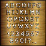 Vector silver coated alphabet letters, digits and punctuation on copper brushed background Stock Images