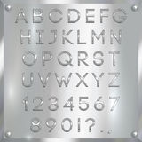 Vector silver coated alphabet letters, digits and punctuation on metallic background Stock Photos